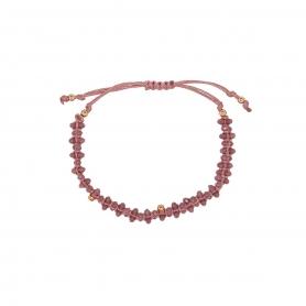 Χειροποίητο βραχιόλι μακραμέ με ροζ κρυσταλλάκια. B-15-02-11-69