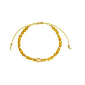 Βραχιόλι μακραμέ με ψαράκι και κίτρινες πέτρες. B-246-01-16-69