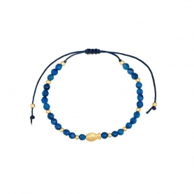 Βραχιόλι μακραμέ με ψαράκι και μπλε χαντρούλες. B-246-01-21-69