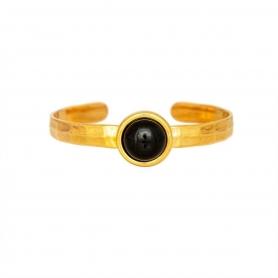 Μεταλλικό βραχιόλι από ορείχαλκο σε επίχρυσο χρώμα με μαύρη πέτρα. B-415-01-06-68