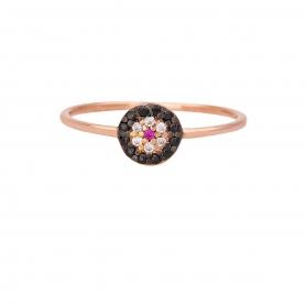 Δαχτυλίδι ματάκι σε στρογγυλό σχήμα με μαύρα, λευκά και ροζ ζιργκόν από ασήμι 925 σε ροζ επιχρύσωμα. D-0199-59-35-55
