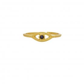 Δαχτυλίδι ματάκι με μαύρο ζιργκόν απο επιχρυσωμένο ασήμι 925. D-10-M-G-5