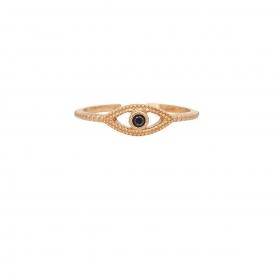 Δαχτυλίδι ματάκι με μαύρο ζιργκόν απο ασήμι 925 με ροζ επιχρύσωμα. D-10-M-RG-5