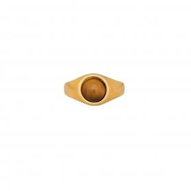 Δαχτυλίδι επίχρυσο  με καφέ πέτρα.  D-346-01-04-45