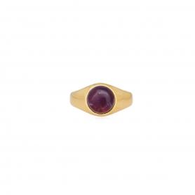 Δαχτυλίδι επίχρυσο με μωβ πέτρα.  D-346-01-24-45