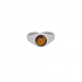 Δαχτυλίδι σε ασημί χρώμα με καφέ πέτρα. D-346-03-04-45