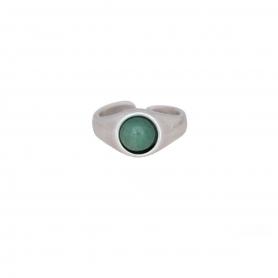 Δαχτυλίδι σε ασημί χρώμα με πράσινη πέτρα. D-346-03-18-45