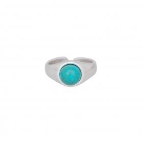 Δαχτυλίδι σε ασημί χρώμα με τιρκουάζ πέτρα. D-346-03-30-45