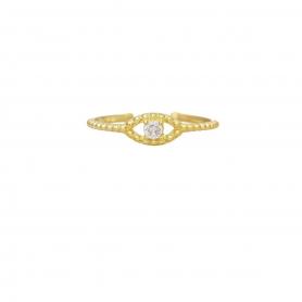 Δαχτυλίδι ματάκι με λευκό ζιργκόν στο κέντρο απο επιχρυσωμένο ασημί 925. D-8-AS-G-49