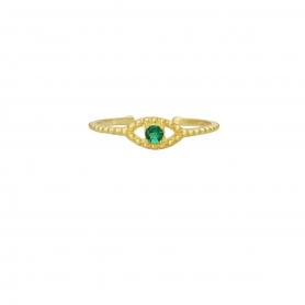 Δαχτυλίδι ματάκι με πράσινο ζιργκόν στο κέντρο απο επιχρυσωμένο ασημί 925. D-8-PRAS-G-49