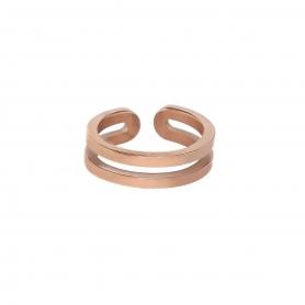 Διπλό δαχτυλίδι από ροζ χρυσό ανοξείδωτο ατσάλι (δεν μαυρίζει) και είναι υποαλλεργικό. R-45-009RG