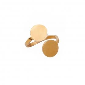 Μοντέρνο επιχρυσωμένο δαχτυλίδι από ανοξείδωτο ατσάλι . R-59-026G
