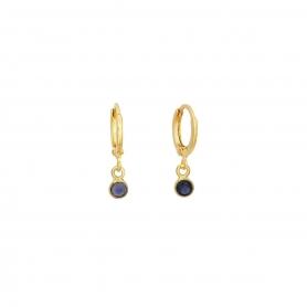 Κρεμαστά επίχρυσα σκουλαρίκια κρίκοι με κρύσταλλο Swarovski.S-1034-01-41-55