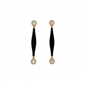 Χειροποίητα μακριά σκουλαρίκια στολισμένα με κρύσταλλα Swarovski. S-529-01-57-75