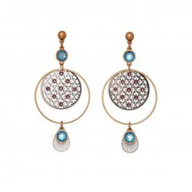 Χειροποίητα μακριά σκουλαρίκια, ροζ χρυσό και ασημί, στολισμένα με κρύσταλλα Swarovski.  S-533-02-59-11