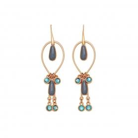 Χειροποίητα μακριά μοντέρνα σκουλαρίκια με σμάλτο και κρύσταλλο Swarovski. S-536-02-58-95