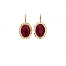 Χειροποίητα σκουλαρίκια Vintage με κόκκινο σμάλτο στολισμένα με επίχρυσες λεπτομέρειες. S-610-01-01-95