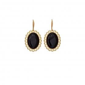 Χειροποίητα σκουλαρίκια Vintage με μαύρο σμάλτο στολισμένα με επίχρυσες λεπτομέρειες. S-610-01-06-95