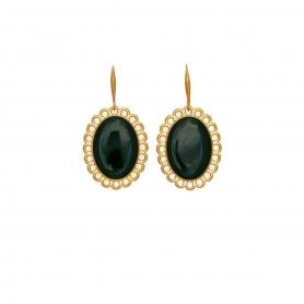 Χειροποίητα σκουλαρίκια Vintage με πράσινο σμάλτο στολισμένα με επίχρυσες λεπτομέρειες.  S-610-01-18-95