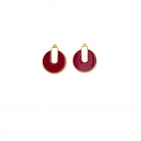 Σκουλαρίκια καρφωτά από ορείχαλκο σε χρυσό χρώμα με σμάλτο. S-652-01-01-66