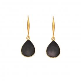 Χειροποίητα επιχρυσωμένα κρεμαστά σκουλαρίκια με σμάλτο σε μαύρο χρώμα, σχήμα σταγόνας S-805-01-06-4