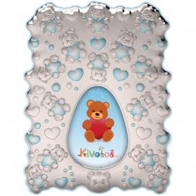 Ασημένια παιδική κορνίζα Slevori 3D αρκουδάκι γαλάζιο