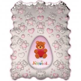 Ασημένια παιδική κορνίζα Slevori 3D αρκουδάκι ροζ