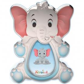 Ασημένια παιδική κορνίζα Slevori 3D ελεφαντάκι γαλάζιο
