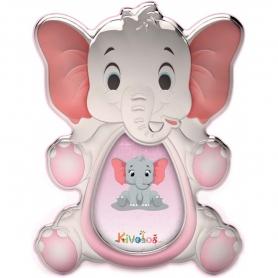 Ασημένια παιδική κορνίζα Slevori 3D ελεφαντάκι ροζ
