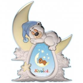Ασημένια παιδική κορνίζα Slevori 3D φεγγαράκι γαλάζιο