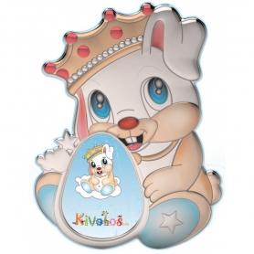 Ασημένια παιδική κορνίζα Slevori 3D κάστρο πρίγκιπας γαλάζιο
