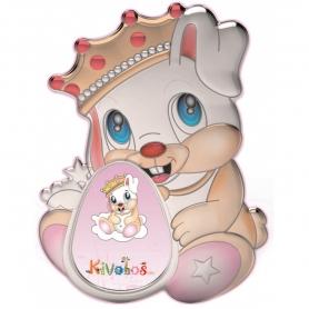 Ασημένια παιδική κορνίζα Slevori 3D κάστρο πριγκίπισσα ροζ