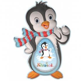 Ασημένια παιδική κορνίζα Slevori 3D πιγκουινάκι γαλάζιο