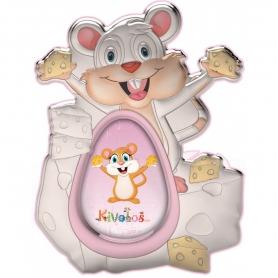 Ασημένια παιδική κορνίζα Slevori 3D ποντικάκι ροζ