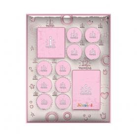 Ασημένια παιδική κορνίζα Slevori 12 Μήνες 26x33.5 ροζ
