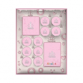 Ασημένια παιδική κορνίζα Slevori 12 Μήνες 19.3x25.4 ροζ