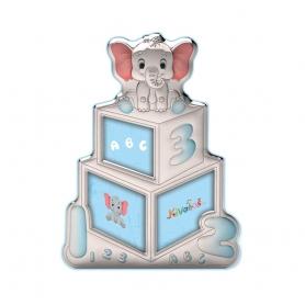 Ασημένια παιδική κορνίζα Slevori 3D abc γαλάζιο