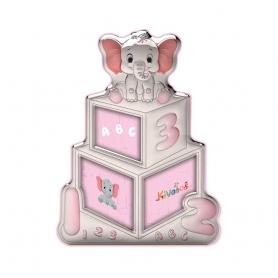 Ασημένια παιδική κορνίζα Slevori 3D abc ροζ