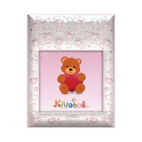 Ασημένια παιδική κορνίζα Slevori Αρκουδάκι 10x10 ροζ