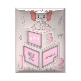 Ασημένια παιδική κορνίζα Slevori Ελεφαντάκι ABC 19.3x25 ροζ