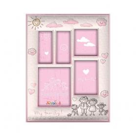 Ασημένια παιδική κορνίζα Slevori Οικογένεια 26x33.5 ροζ