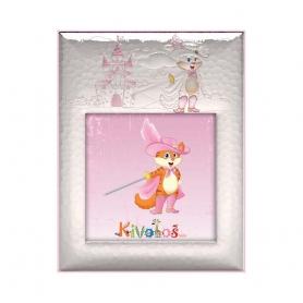 Ασημένια παιδική κορνίζα Slevori Παπουτσωμένος Γάτος 15x15 ροζ