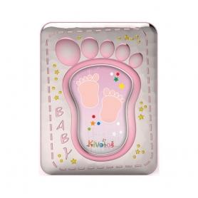 Ασημένια παιδική κορνίζα Slevori Πατουσάκια 10x15 ροζ