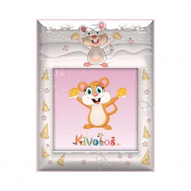 Ασημένια παιδική κορνίζα Slevori Ποντικάκι 20x20 ροζ