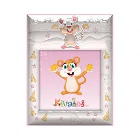 Ασημένια παιδική κορνίζα Slevori Ποντικάκι 10x10 ροζ