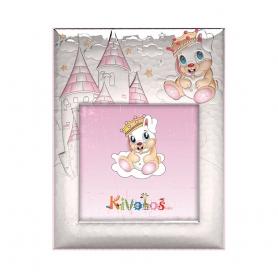 Ασημένια παιδική κορνίζα Slevori Πριγκίπισσα Κάστρο 15x15 ροζ