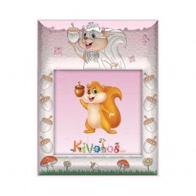 Ασημένια παιδική κορνίζα Slevori Σκιουράκι 10x10 ροζ