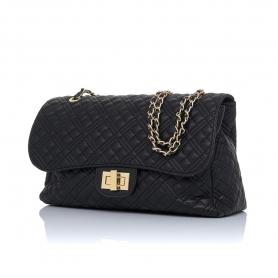 Γυναικεία τσάντα ώμου καπιτονέ Pierro Accessories 90596KPT01 Μαύρο