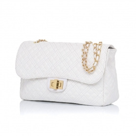 Γυναικεία τσάντα ώμου καπιτονέ Pierro Accessories 90596KPT07 Λευκό