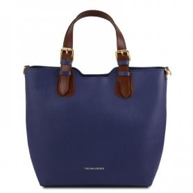 Γυναικεία Τσάντα Δερμάτινη TL141696-Μπλε σκούρο
